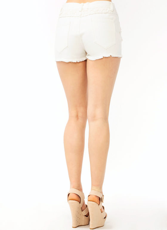 Crochet Flower Denim Shorts IVORY