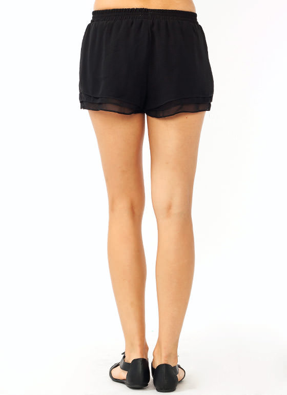 Layered Chiffon Shorts BLACK