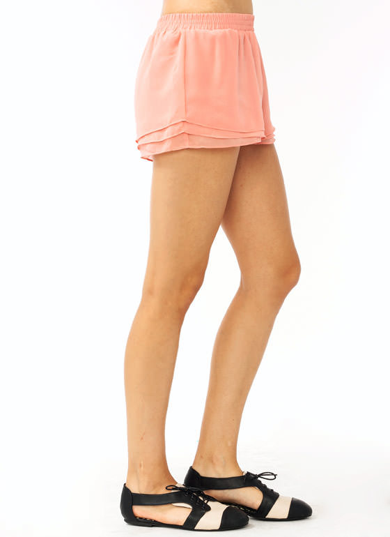 Layered Chiffon Shorts BLUSH
