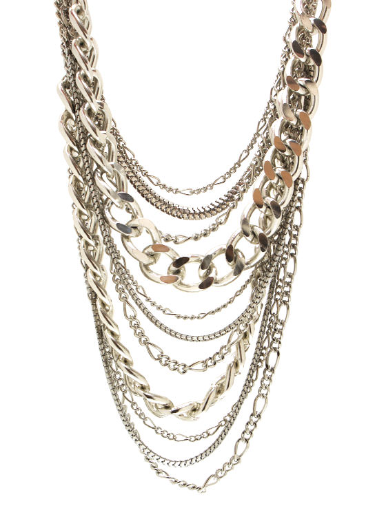 Layered Chain Necklace Set SILVER