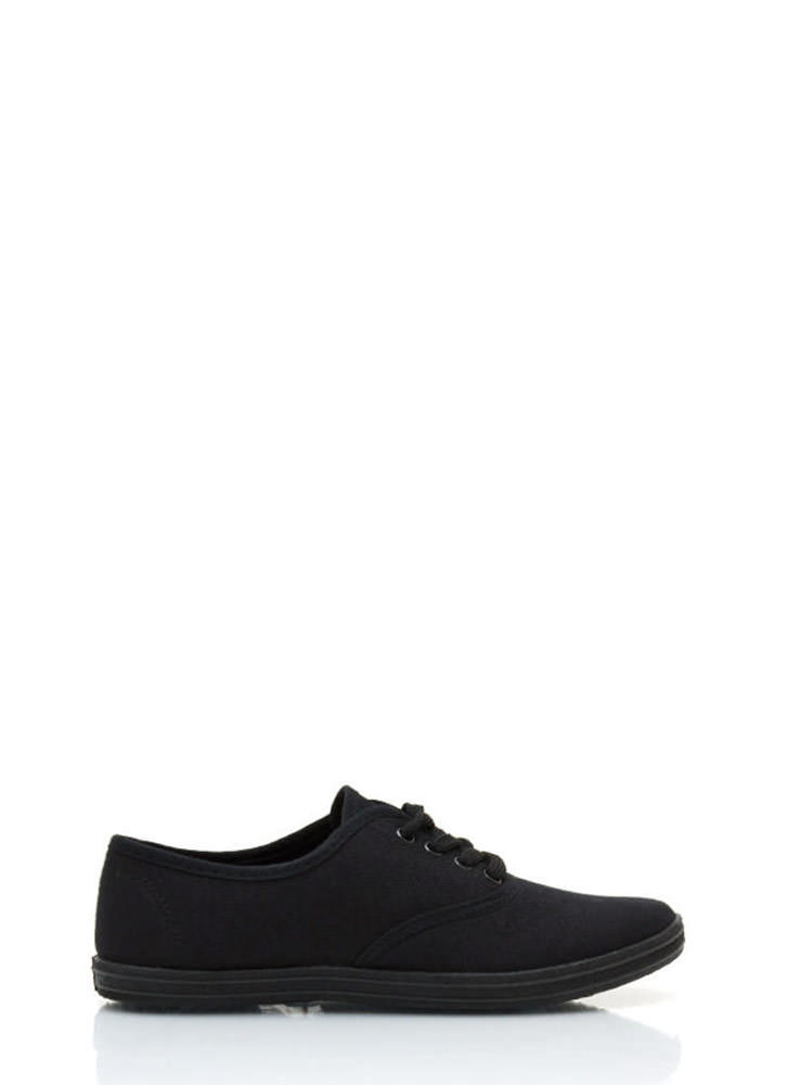 Lace Up Canvas Flats BLACKBLACK