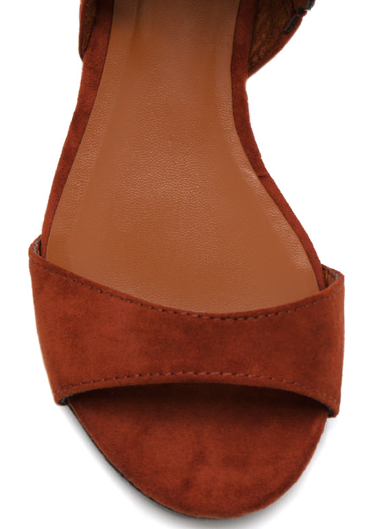 Teardrop Faux Suede Sandals TAN