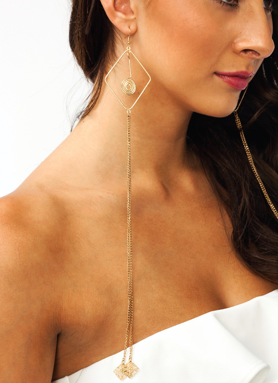 Long Chain Swirl Earrings GOLD