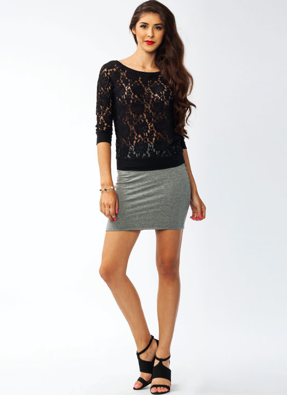 Fitted Mini Skirt HGREY