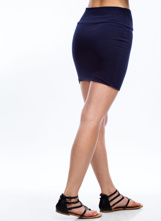 Fitted Mini Skirt NAVY