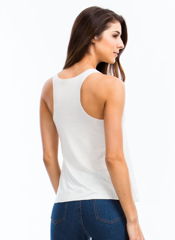 Feeling French Embellished Tank IVORY