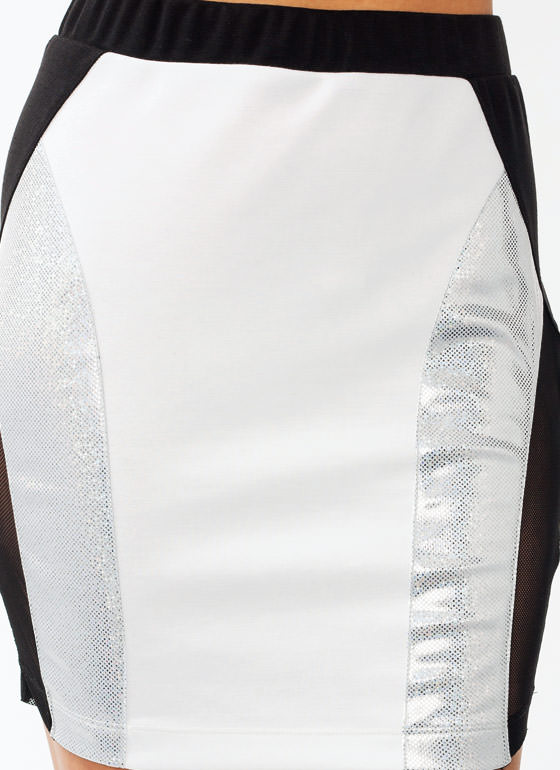 Hologram Mini Skirt WHITEBLACK