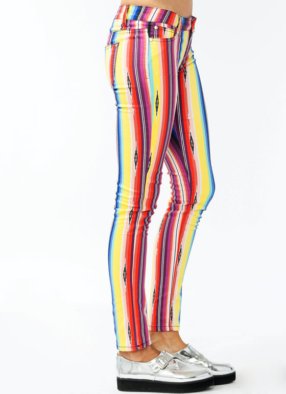 Rainbow Striped Skinny Jeans BLACKYLLW