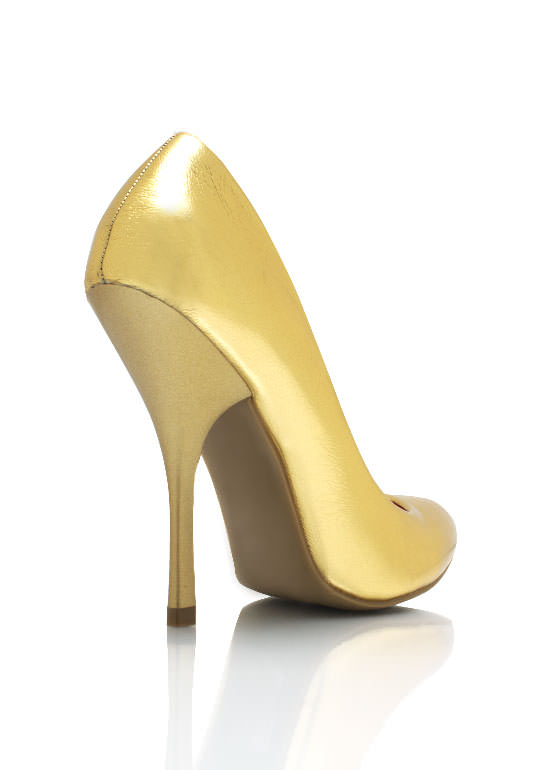 Faux Leather Single Sole Pumps GOLD