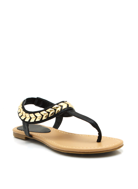 Chevron And On Thong Sandals BLACK