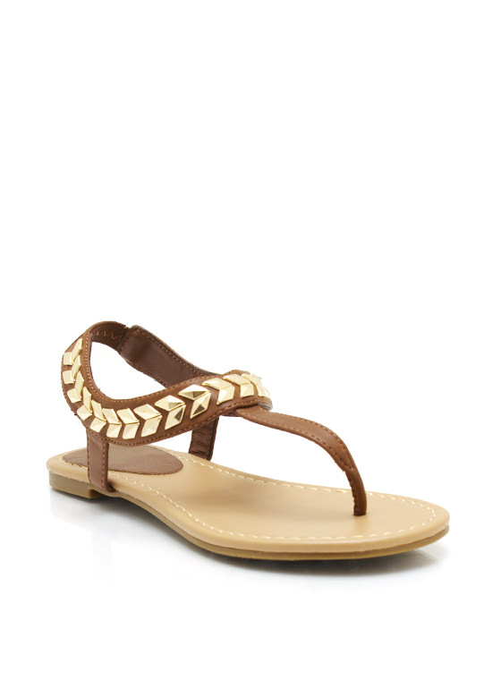 Chevron And On Thong Sandals TAN