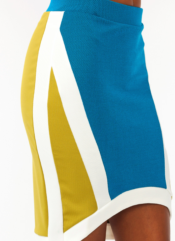 Colorblock Knit Skirt AQUAIVORY