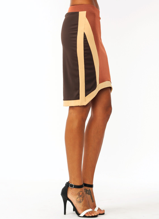 Colorblock Knit Skirt RUSTCAMEL