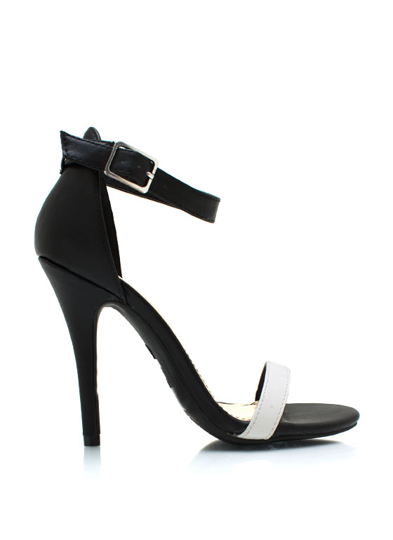 Strappy Single Sole Heels BLACKWHITE