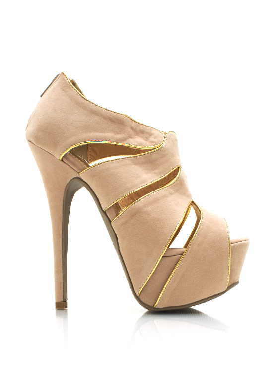 Faux Suede Cut Out Heels NUDE