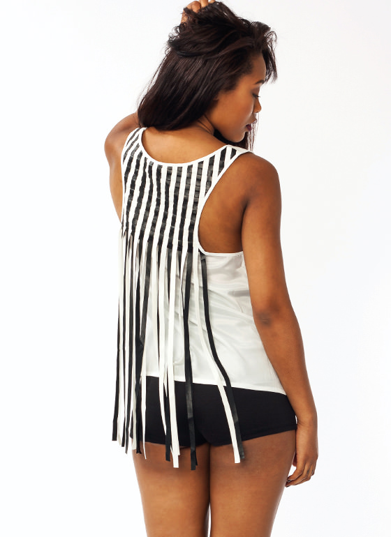 Basket Weave Faux Leather Tank IVORYBLACK