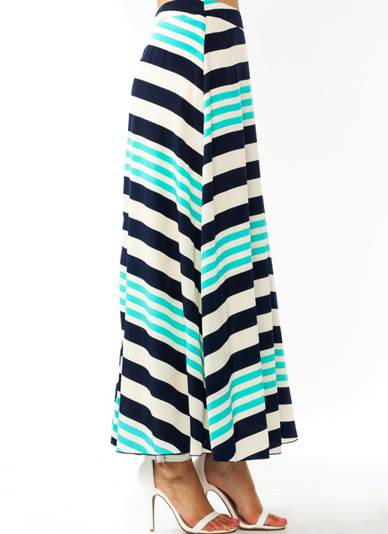 Striped Just Right Maxi Skirt BLUENAVY