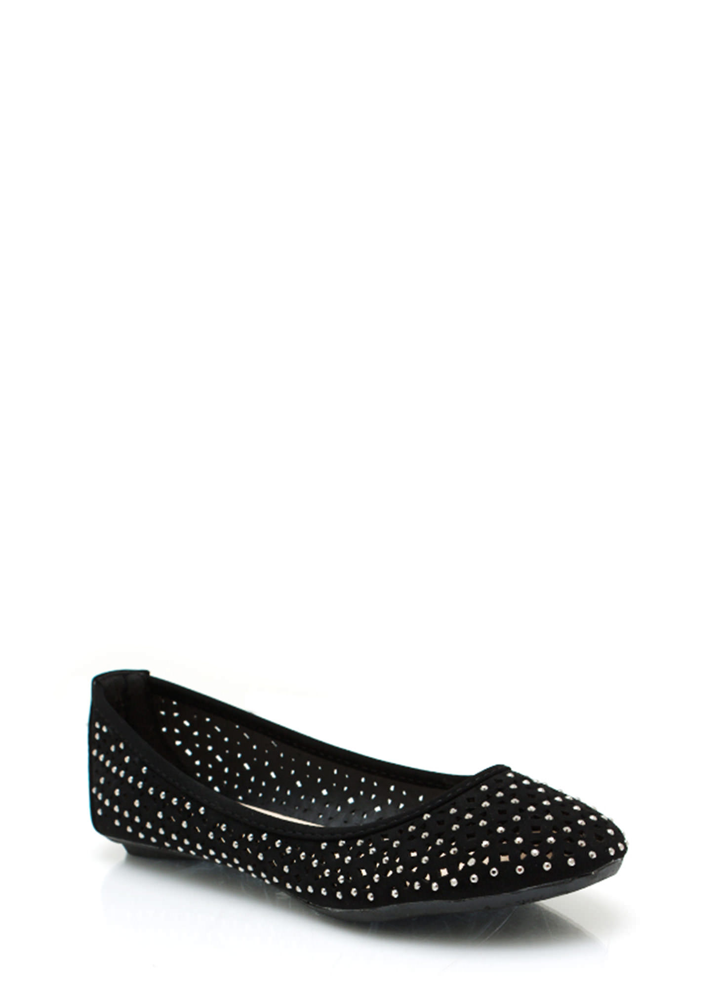 Cut-Out Ballet Flats BLACK