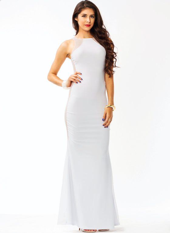 Meshtastic Maxi Dress WHITE