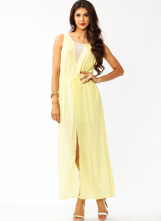 Shifty Slit Maxi Dress YELLOW