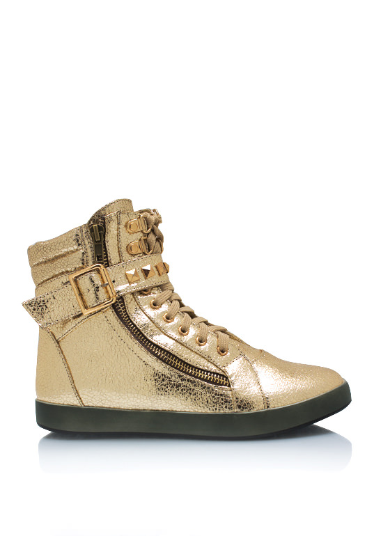 Crackle Studded Buckle Sneakers GOLD