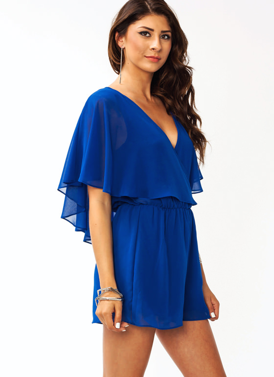 Flutter Sleeve Romper ROYAL