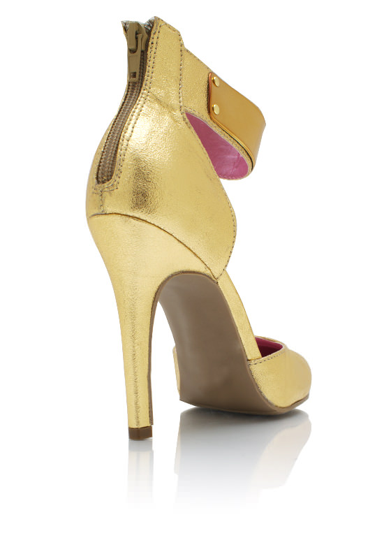 Metallic Plate Single Sole Heels GOLD