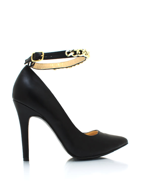 Chained Up Single Sole Heels BLACK