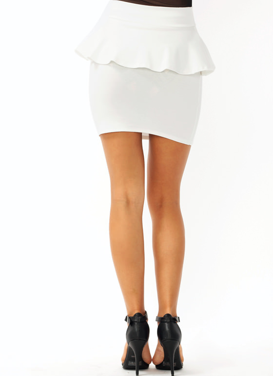 Pretty In Peplum Mini Skirt IVORY