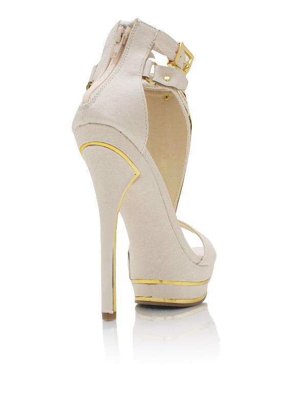 Plated Strappy Heels BEIGE