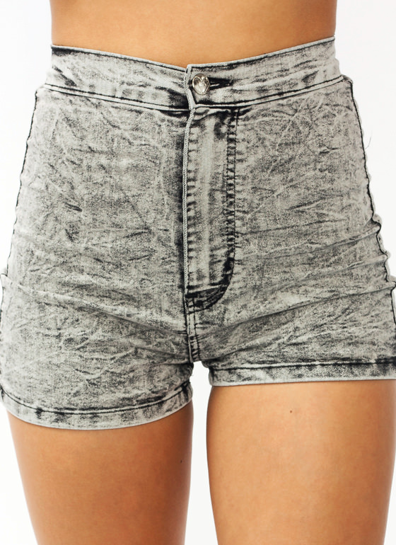 Acidic High Waisted Shorts GREY