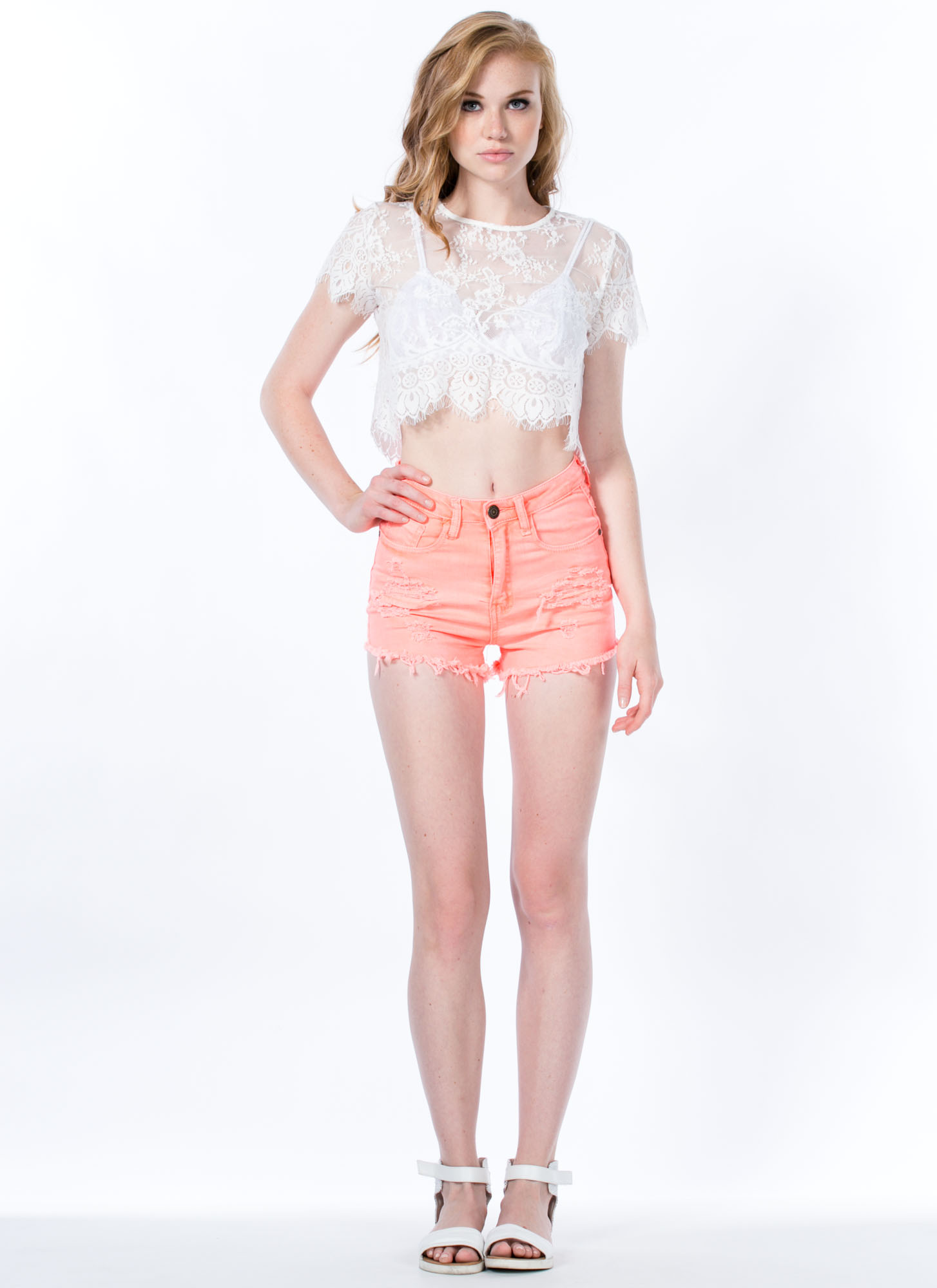 Totally Shredded Denim Shorts NEONCORAL
