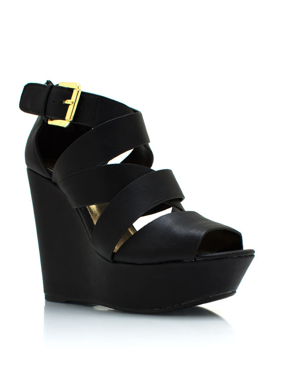Strappy Crisscross Wedges BLACK