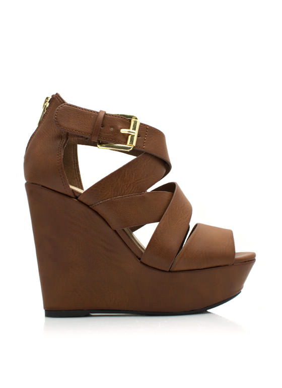 Strappy Crisscross Wedges TAN