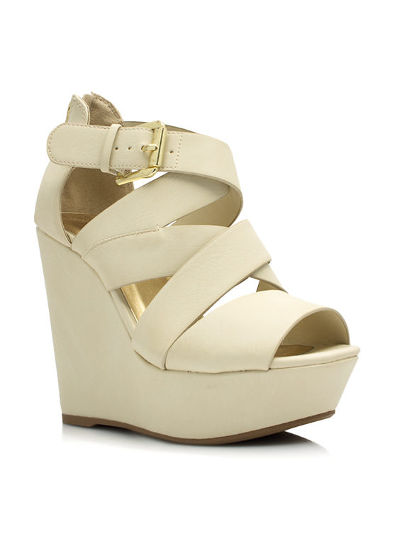 Strappy Crisscross Wedges WHITE