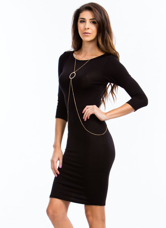Sweet And Simple Fitted Dress BLACK