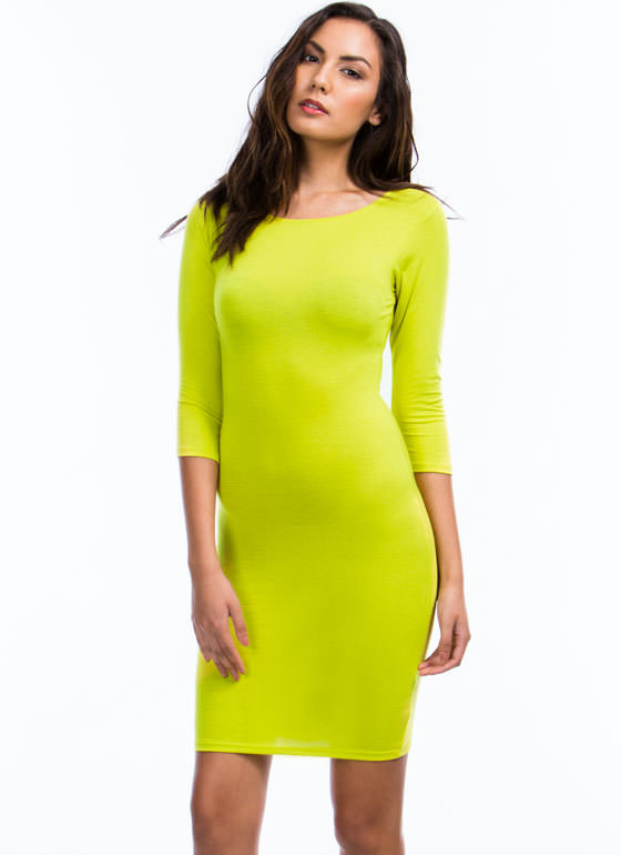 Sweet And Simple Fitted Dress CITRON