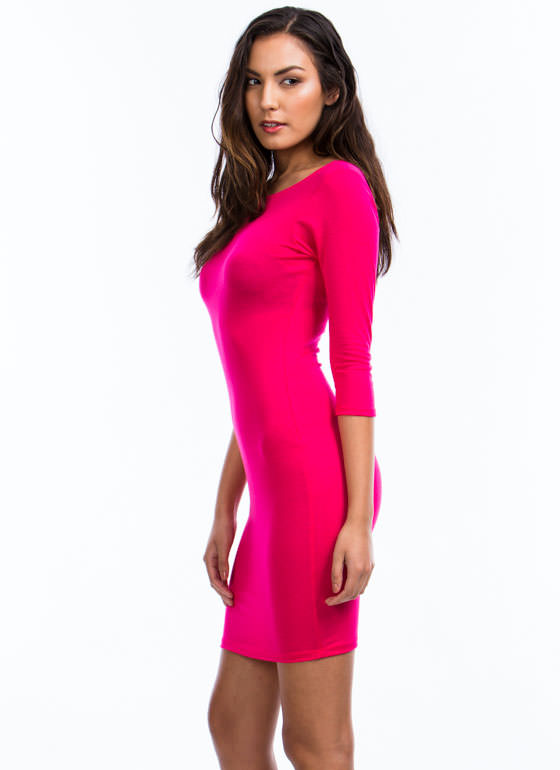 Sweet And Simple Fitted Dress PINK