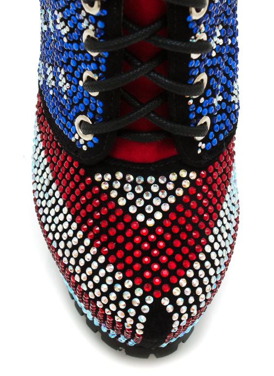 Freedom Embellished Lace Up Booties REDBLUE