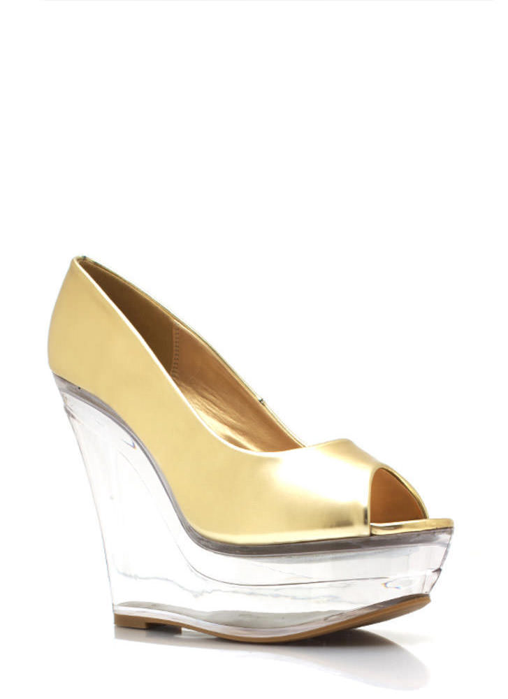 Metallic Glass Slipper Wedges GOLD