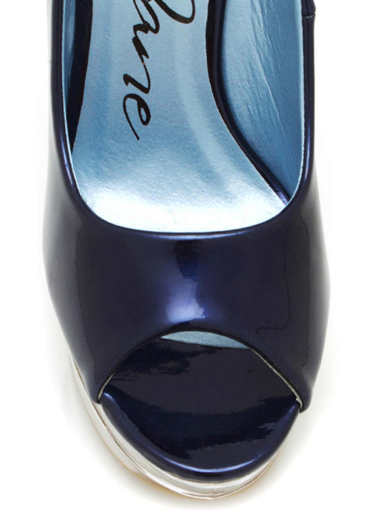 Metallic Glass Slipper Wedges NAVY
