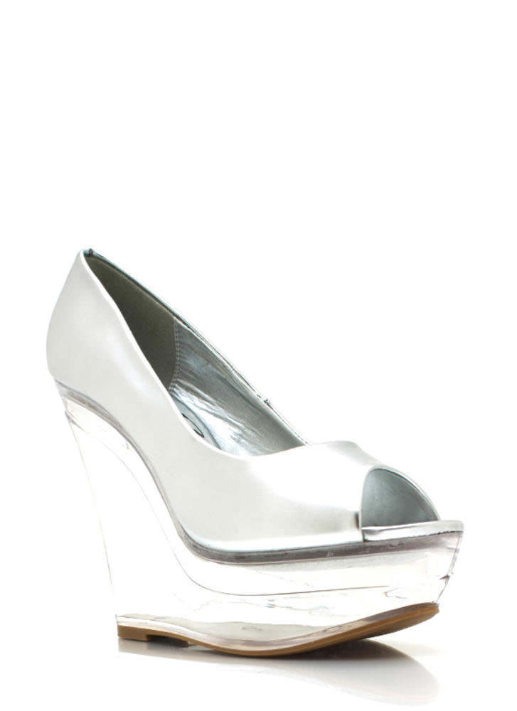 Metallic Glass Slipper Wedges SILVER
