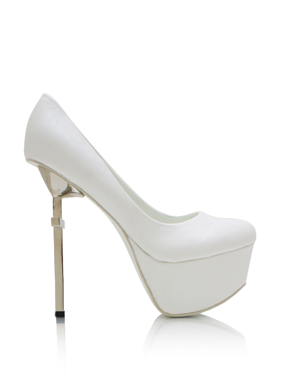 Crossed Faux Leather Platform Pumps WHITE