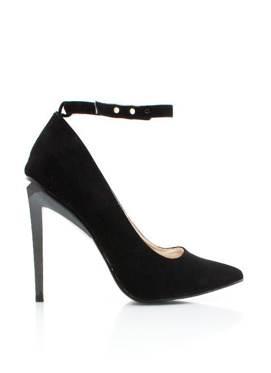 Ankle Strap Single Sole Heels BLACK