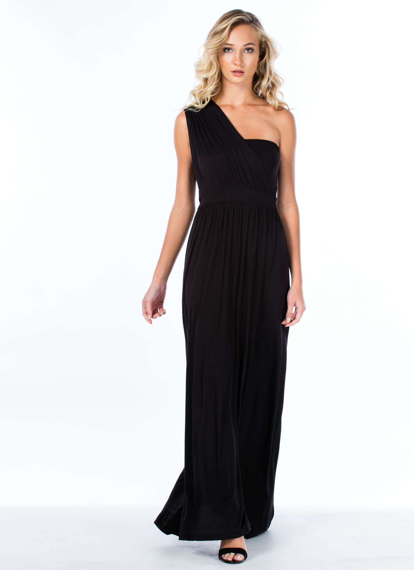Asymmetrical Goddess Maxi Dress BLACK