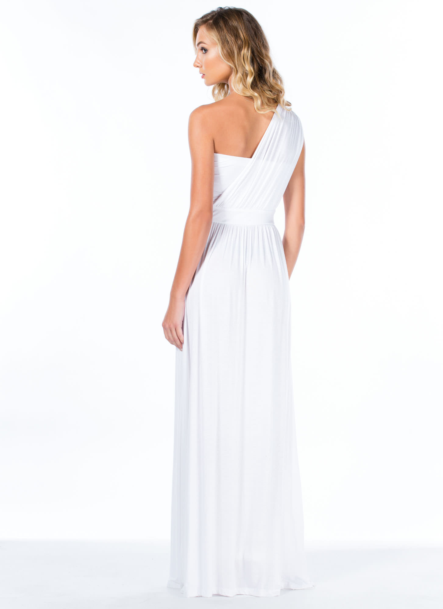Asymmetrical Goddess Maxi Dress WHITE