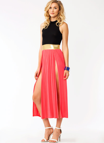 Metallic Belted Slit Maxi Dress CORAL