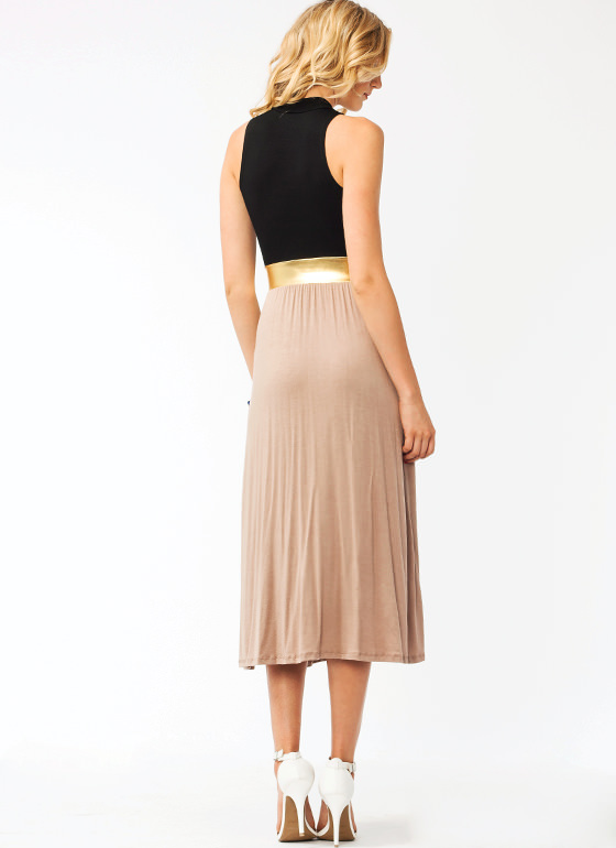 Metallic Belted Slit Maxi Dress MOCHA