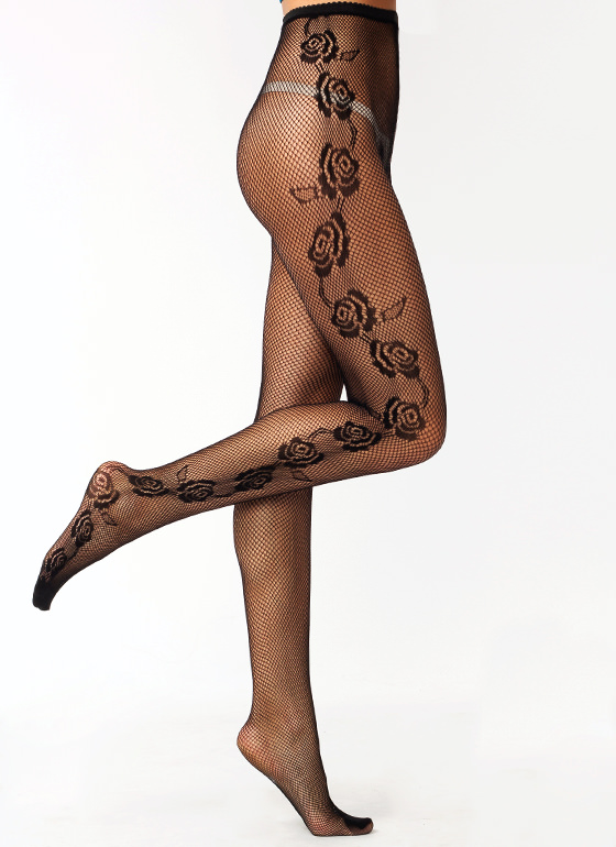Rose Bouquet Fishnet Stockings BLACK