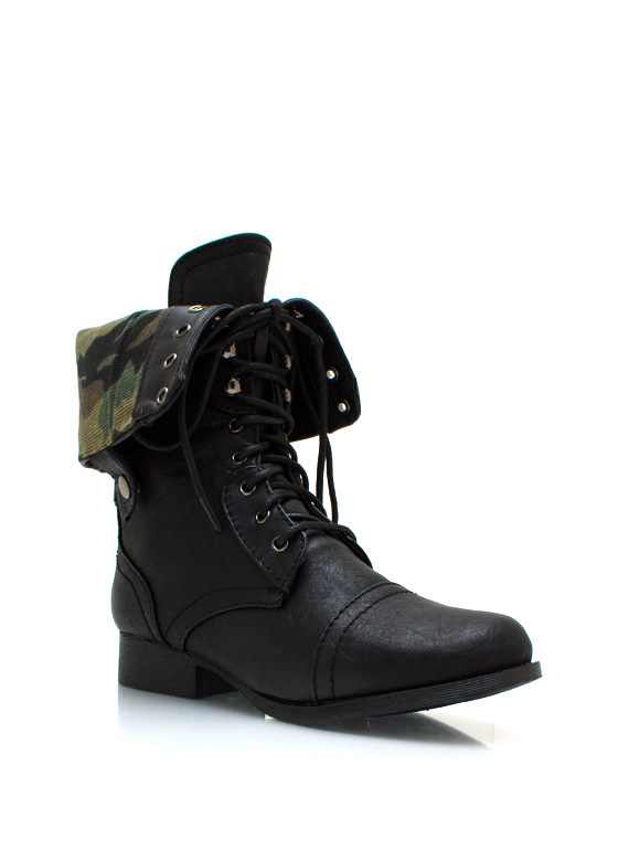 Love Military Boys Combat Boots BLACK